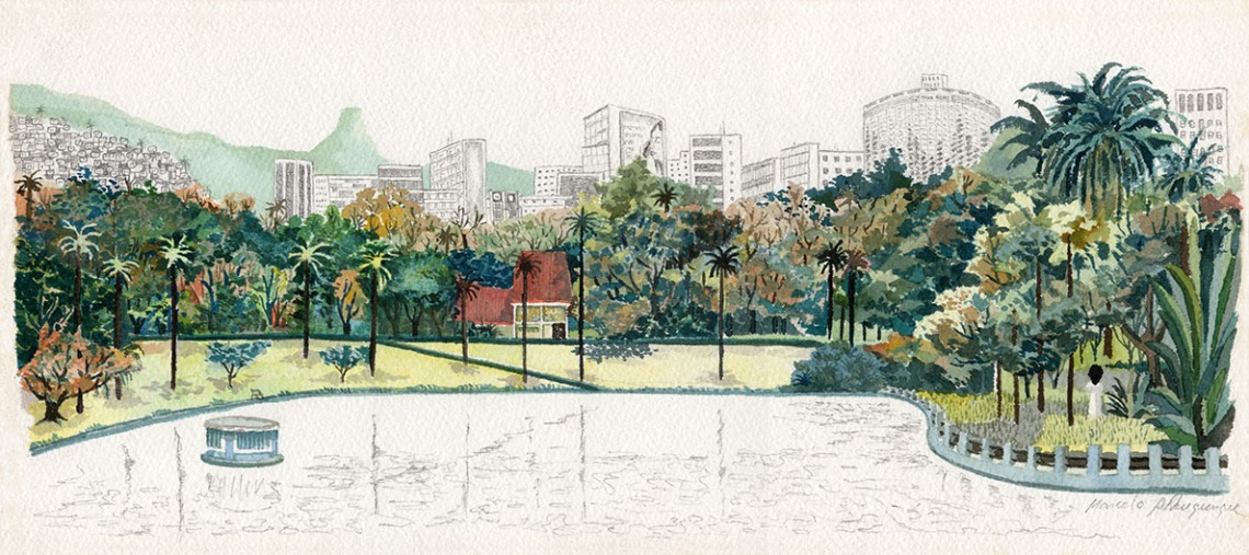 2002 - Parque Municipal - aquarela e grafite - 19x42cm