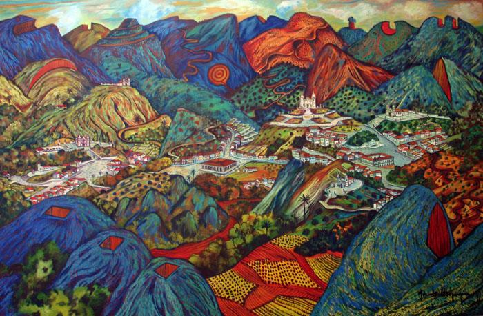 2011 - Paisagem imaginaria com montanhas cortadas - oleo sobre tela - 120x180cm - 03