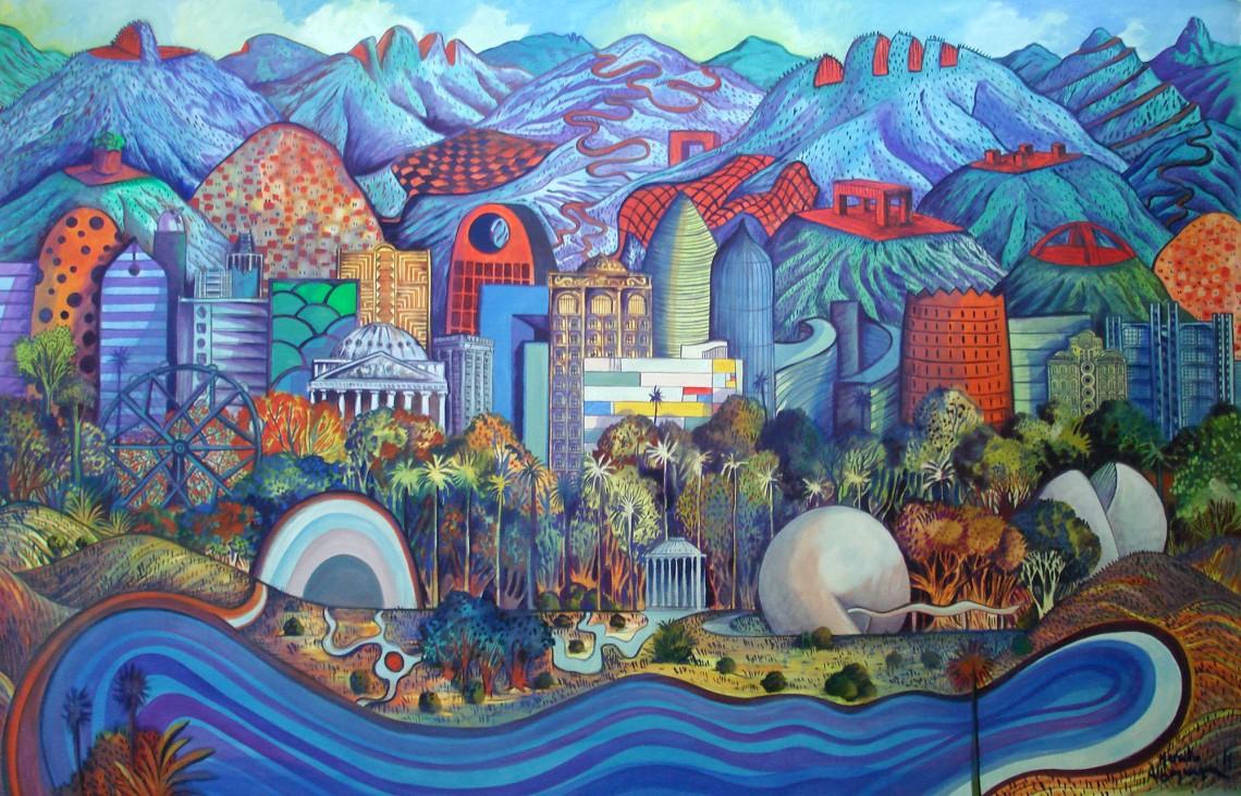 2011 - Paisagem imaginaria com montanhas cortadas - oleo sobre tela - 133x205cm