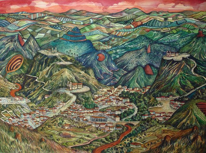 2012 - Paisagem imaginaria com montanhas cortadas - aquarela - 55x76-02