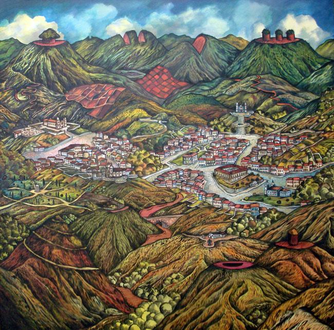 2012 -Paisagem imaginária com montanhas cortadas - acrilico - 01 - 100x100cm