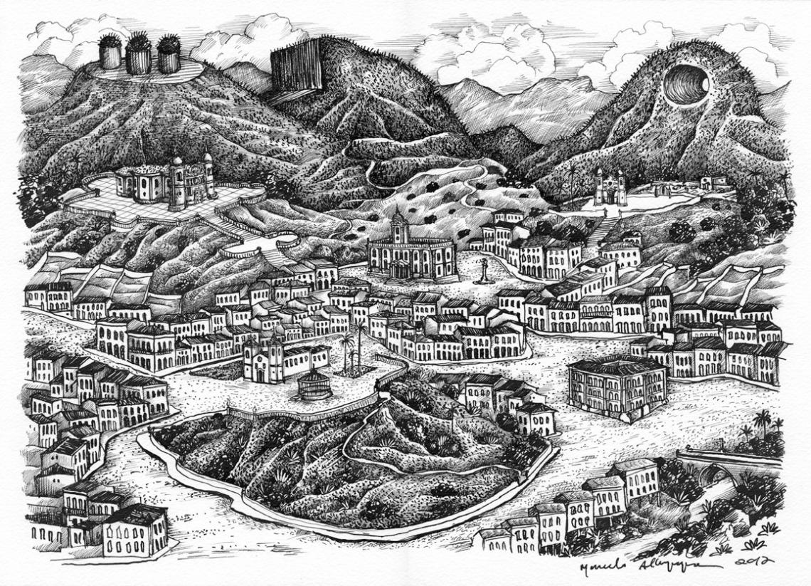 2012 -Paisagem imaginária com montanhas cortadas- nanquim - 02 - 295x42cm