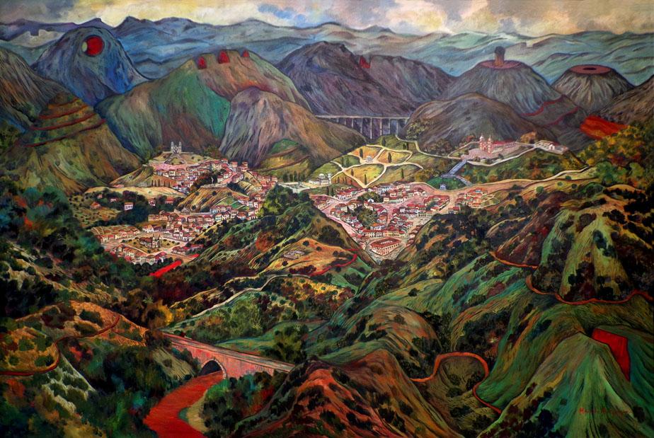 2012 -Paisagem imaginária com montanhas cortadas - oleo - 01 - 120x180cm