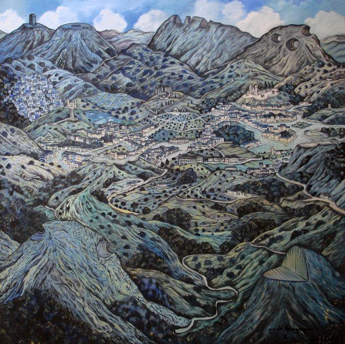 2012 -Paisagem imaginária com montanhas cortadas - oleo - 01 - 130x130cm
