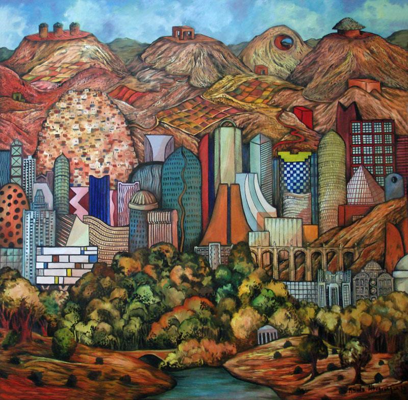 2012 -Paisagem imaginária com montanhas cortadas - oleo - 02 - 130x130cm
