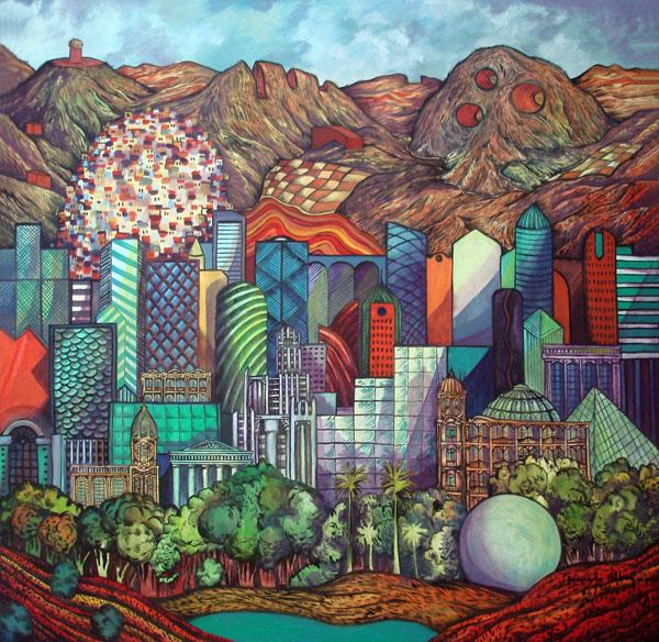 2012 -Paisagem imaginária com montanhas cortadas - oleo - 03 - 130x130cm