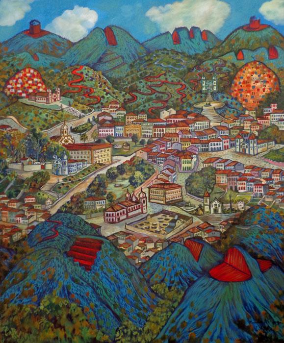 2012 -Paisagem imaginária com montanhas cortadas - oleo - 04 - 120x100cm