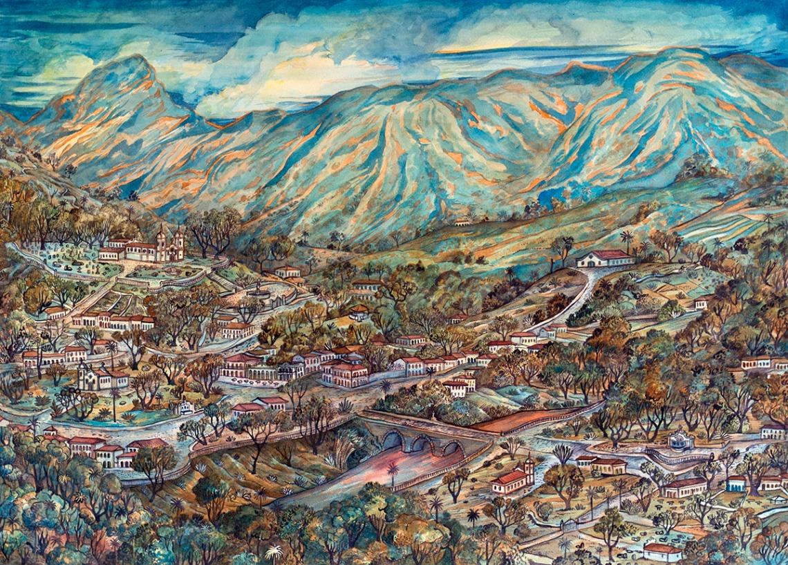 2014 - paisagem para tiradentes - aquarela - 55x75cm