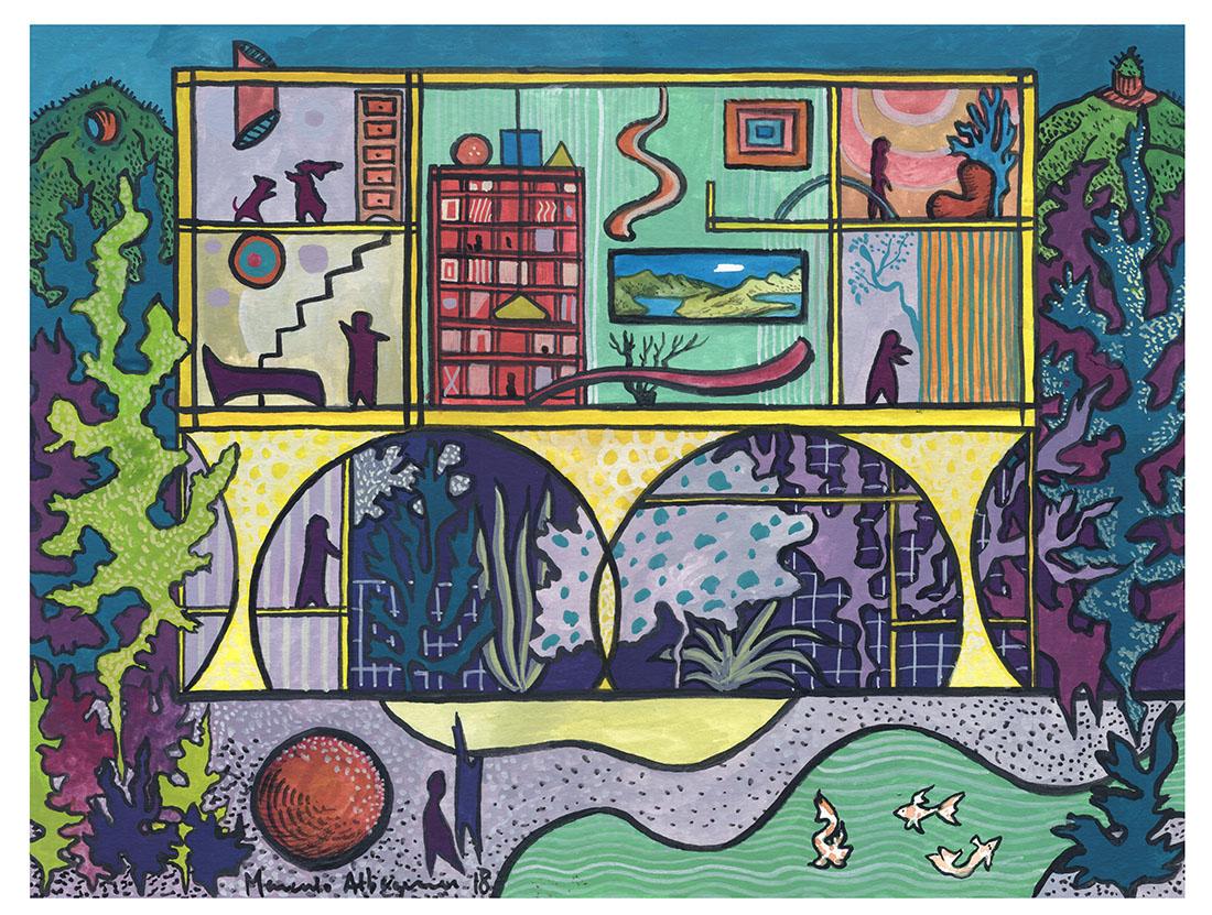 2018 - Arquitetura - Guache sobre papel 02 - 25 x 32-5 cm