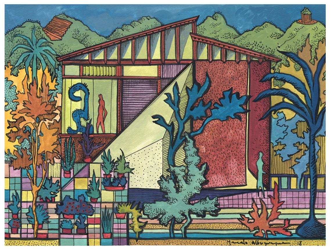 2018 - Arquitetura - Guache sobre papel 03 - 25 x 32-5 cm