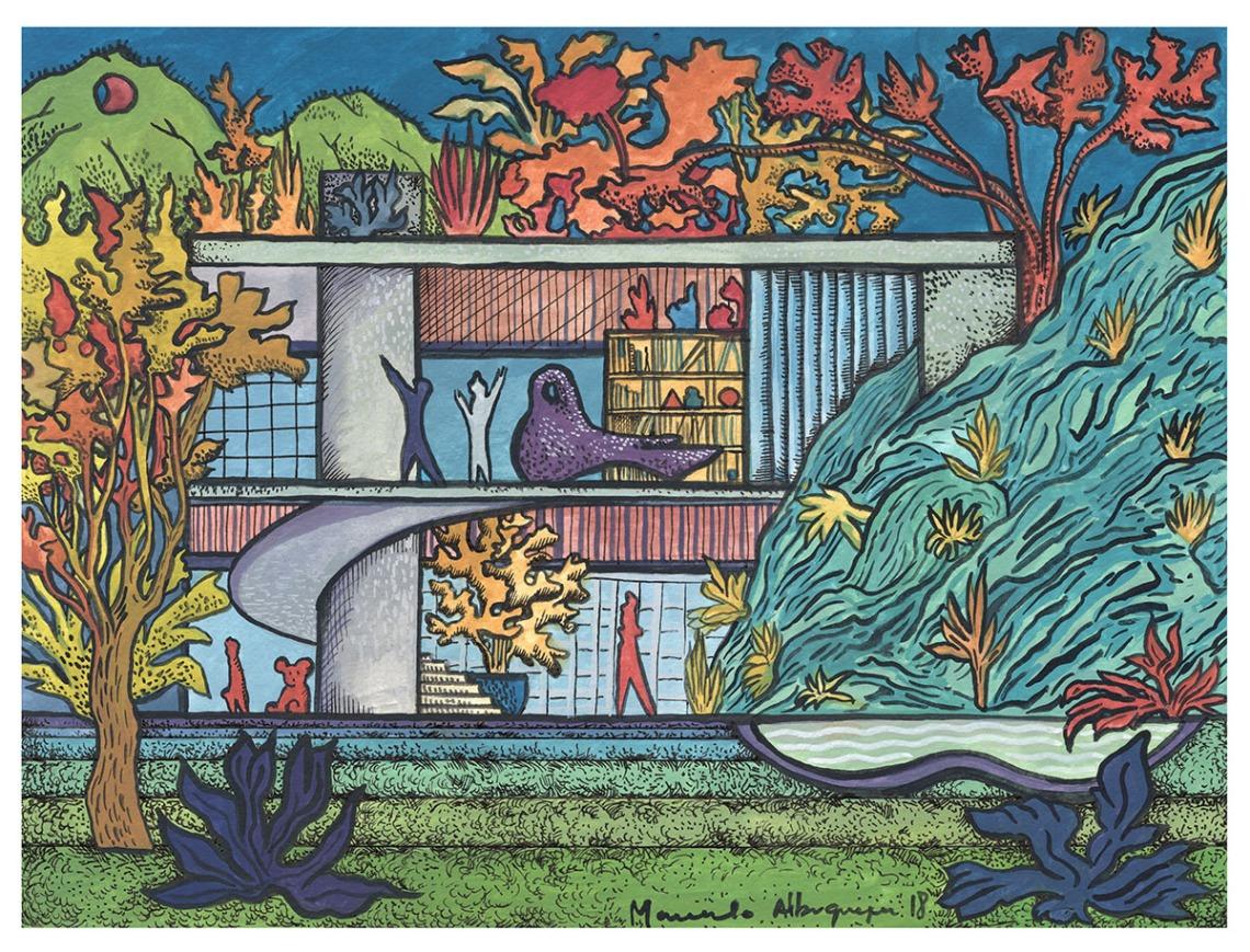 2018 - Arquitetura - Guache sobre papel 04 - 25 x 32-5 cm