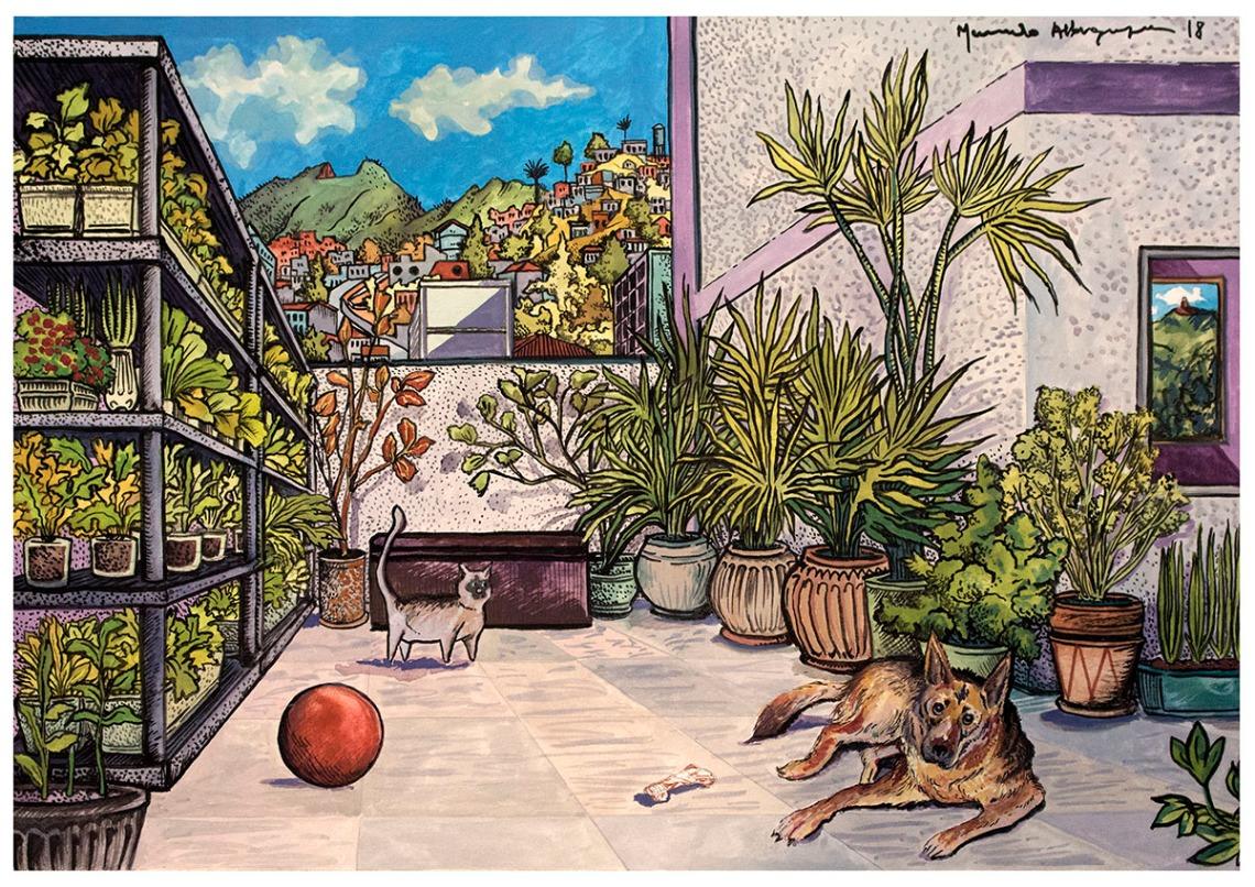 2018 - Arquitetura - Laika, Boris e horta urbana - Guache e nanquim sobre papel - 30 x 40 cm